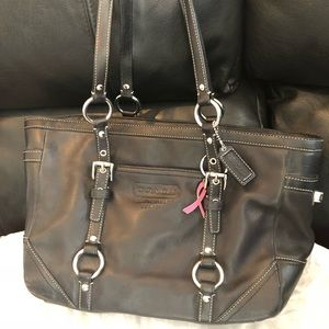 Coach East West Tote Black Leather No G0871-F12343